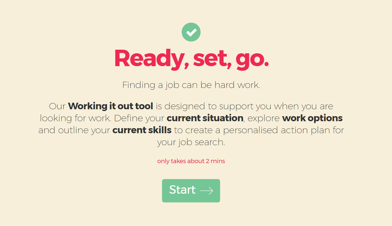 working it out tool landing page and instrutions